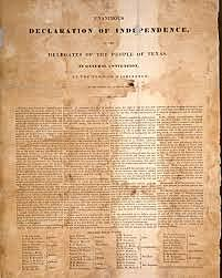 Texas Independance from Mexico. Convention without debate adopted a declaration of independance. Republic of Texas  is declared.