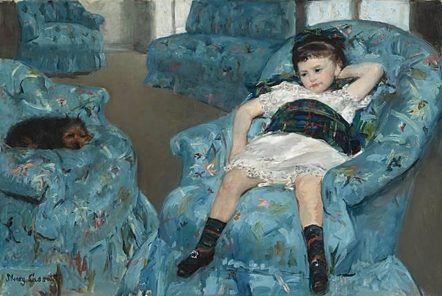 Niña en sillón azul | Mary Cassatt