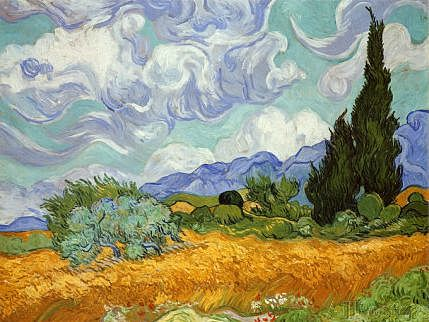 Campo de trigo con cipreses | Vincent Van Gogh
