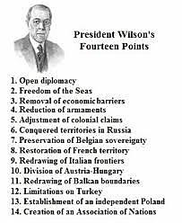 """President Woodrow issues the """"Fourteen points"""""""