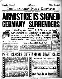 Germany agrees to an armistice.