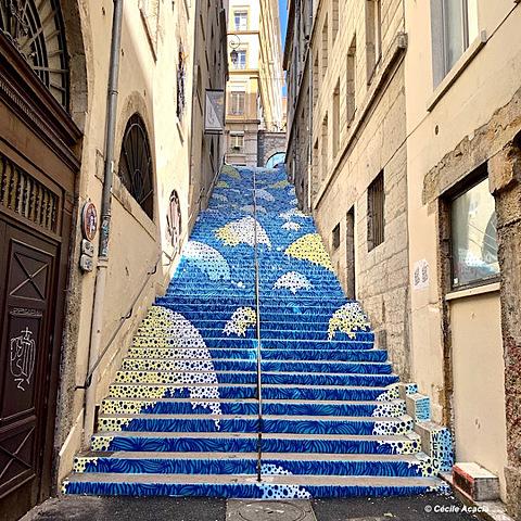 """Morandet Margot - Déplacements du spectateur / Wenc : """"l'escalier Mermet"""" ( Lyon 1er )"""