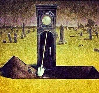 """GUILLIEZ Manon - Le temps / Pawel Kuczynski, """"clock"""" ( peinture sur toile )"""