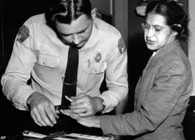 1995: 1st December. Rosa Parks, an African-American woman, is arrested December 1 for refusing to give up her seat to a white person. Bus boycott launches in Montgomery, Alabama