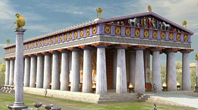 Construcción del templo de Zeus en Olimpia