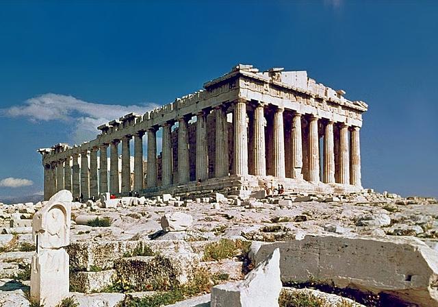 Construcción del Partenón en la acrópolis de Atenas