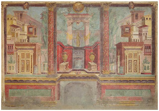 Prof - La représentation de l'espace / Anonyme - Fresques de la villa de Publius Fannius Synisto à Boscoreale, près de Pompéi, Rome, fin de la République, vers. 50-40 avant J.C., 265.4 x 334 x 583.9 cm)