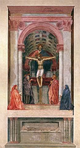 """Prof - La représentation de l'espace / Masaccio - """"La Trinité"""" (Fresque, 667 x 317 cm, Basilique Santa Maria Novella, Florence)"""