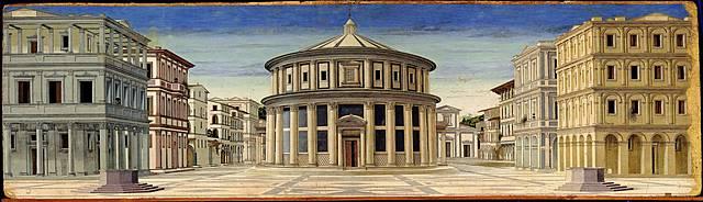 """Prof - La représentation de l'espace / Anonyme - """"La Cité idéale"""" (Tempera sur toile, 67,5 x 239, 5 cm, Galleria Nazionale delle Marche, Urbino)"""
