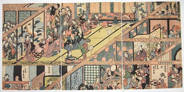 "Prof - Perspective(s) / Ichiryusai Hiroshige - ""Intermede Kabuki"" (Triptyque, gravures, 3 panneaux de 25 x 37 cm, 3 tirages connus)"