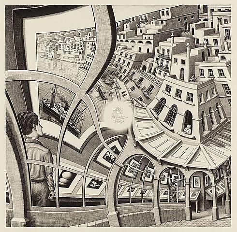 "Prof - Perspective(s) / Maurits Cornelis Escher - ""Galerie d'impressions"" (lithographie, 31,9 x 31,7 cm)"