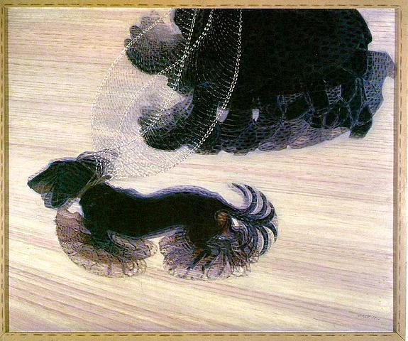 """Prof - Le mouvement / Giacomo Balla - """"Dynamisme d'un chien en laisse"""" (huile sur toile, 110 x 90 cm, Galerie d'art Albright-Knox, Buffalo, États-Unis, Futurisme)"""
