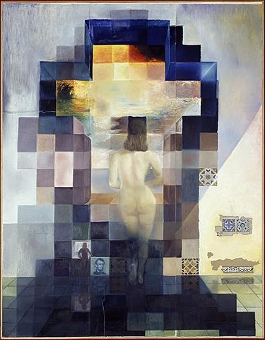 """Prof - Les déplacements du spectateur / Salvador Dali - """"Gala nue regardant la mer qui à 18 mètres apparaît le président Lincoln"""" (peinture à l'huile sur papier photographique sur bois, 420 x 318 cm, Théâtre-Musée Dalí, Figueres, Espagne, Surréalisme)"""