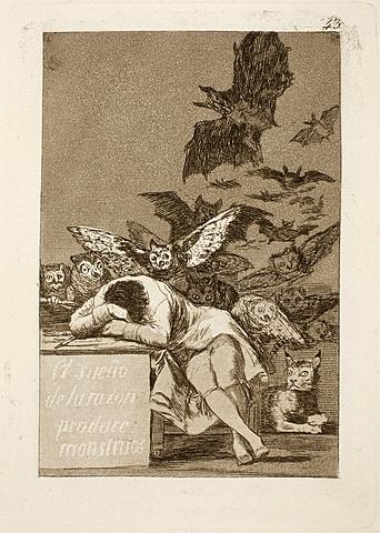 Nº 5 Capricho nº 43: El sueño de la razón produce monstruos Goya