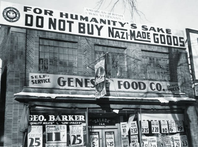 Jewish organizations in America and Western Europe protest Nazi persecution of the Jews.