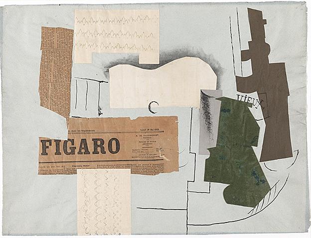 Nº 14 Botella de Vieux Marc, vidrio, guitarra y periódico, 1913