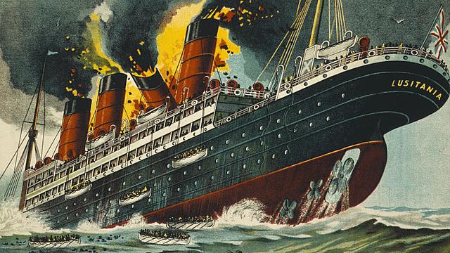 le paquebot Lusitania est torpillé par les Allemands,