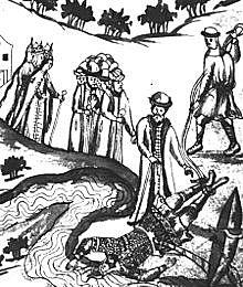 В ночь на 6 августа 1585 года Ермак погиб вместе с небольшим отрядом в устье Вагая.
