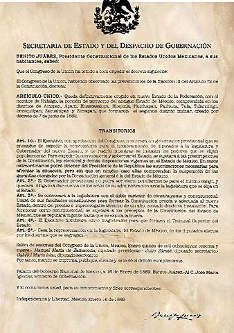 Se publica en México el decreto del 22 de enero