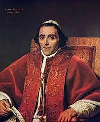 El papa Pío vII  da la excomunión a Napoleón.