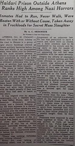 NEW YORK TIMES 2/11/1944 HAIDARI PRISON