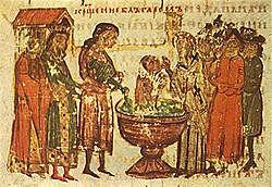 Ο ηγεμόνας της Α' Βουλγαρικής Αυτοκρατορίας Βόρις Α' βαπτίζεται