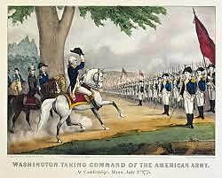 Washington arrives on outskirts of boston with continental troops