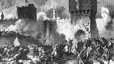 Toma de Constantinopla y caída definitiva  de todo vestigio de la antigüedad, cuya ciudad fue destruida y tomada por turcos