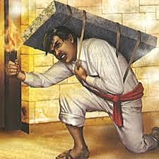 El Pípila abre la puerta de la Alhóndiga.
