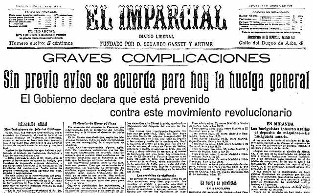 Esclat de la vaga general de 1917 (conflictivitat social)