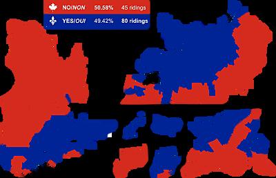 Le Québec vote « non » au référendum
