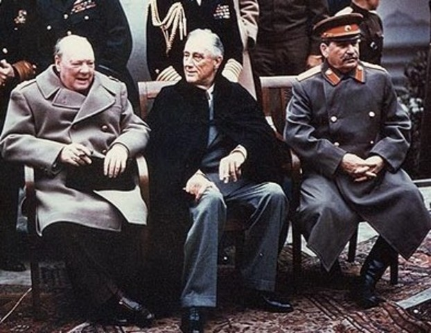Roosevelt, Churchill, and Stalin meet in Yalta