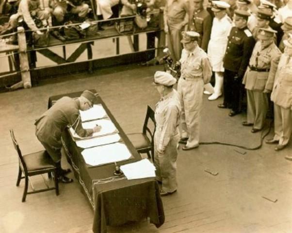 Japan surrenders; V-J (Victory over Japan) Day