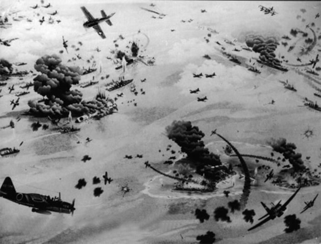 Battle of Midway; ends three days later; official turning point in Pacific War
