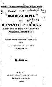 Código Civil para el DF y Baja California