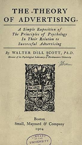 """W. D. Scott """"The Theory of Advertising"""""""