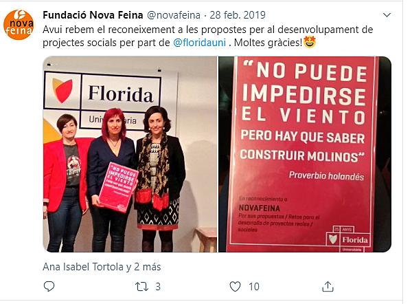 Recibimos el Reconocimiento de Florida Universitaria al desarrollo de proyectos Sociales
