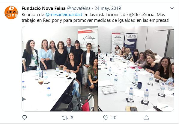 Reunión Mesa de Igualdad en las instalaciones de la empresa CLECE