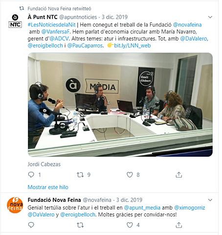 Participación y Difusión en APunt Radio . Tertulia sobre el desempleo