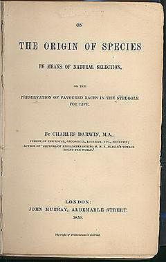 """Pubblicazione """"l'origine delle specie"""""""