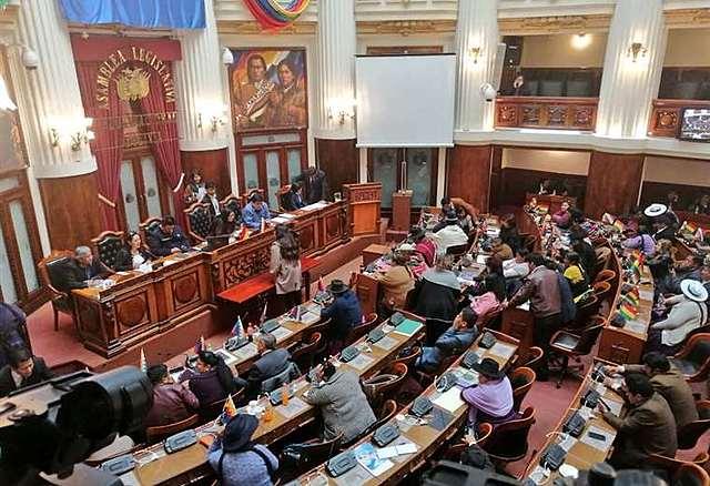En bochonorsa sesión legisladores aprueban las renuncias de Evo Morales y Álvaro García Linera
