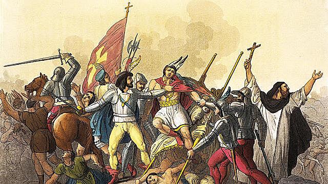 Conquistadors capture Atahualpa.