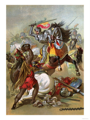Tlaxcalans attack the Spanish