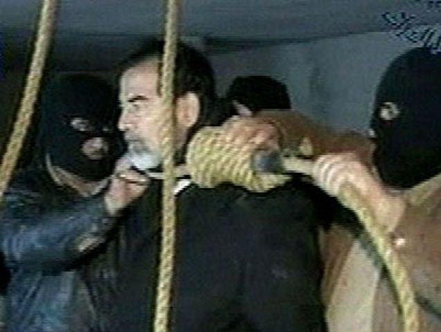 Saddam Hussein executed by hanging