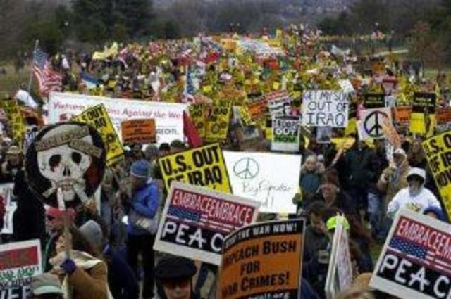 Massive anti-war demonstrations held in the U.S.