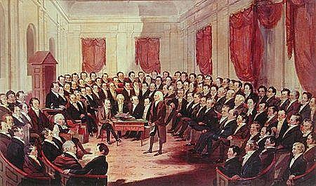 The delegates at the Philadelphia convention approve the Constitution