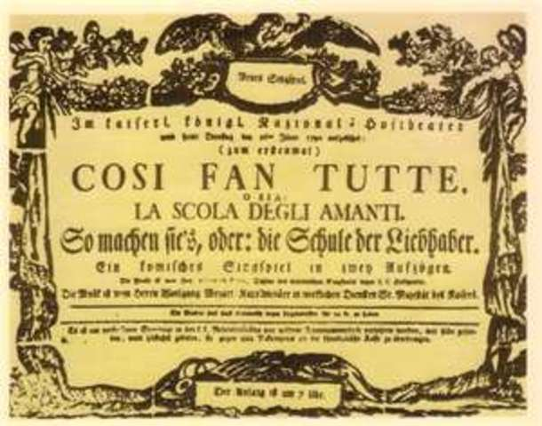 """Mozart's """"Cosi fan tutte"""" Premiered in Vienna"""