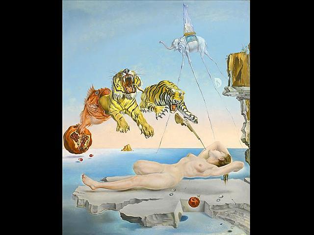 Sueño causado por el vuelo de una abeja alrededor de una granada un segundo antes del despertar | Dalí