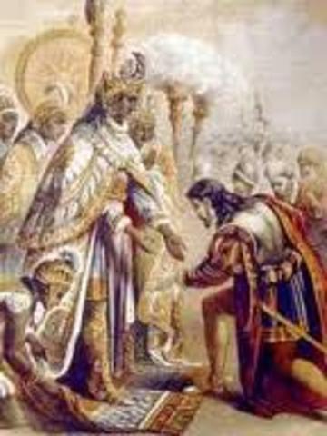 Moctezuma and Cortes meet