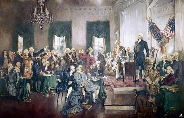 The delegates at the Philadelphia convention approving the Constitution